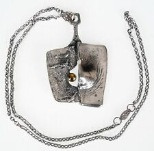 Vintage Gilles Guy Vidal Brutalist Pendant Necklace Modernist Abstract Pewter 19