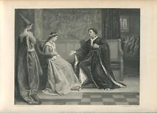New listing ANTIQUE KING HENRY V COURT DAMSEL WOOING LOVE ROMANCE HORSE KNIGHT ARCHERY PRINT