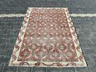 Oushak Hand Knotted Pale Orange Carpet Bohemian Ethnic Vintage Area Rug 4x7 ft