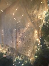 Huge Victorian Embroidered Fringe Piano Scarf OLD Silver Clasp