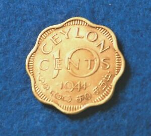 1944 Ceylon 10 Cents - Great Coin - SEE PICS