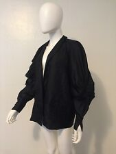 vintage black SILK mutton sleeve victorian edwardian inspired gothic witchy top