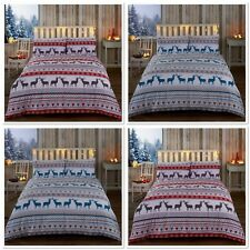 "Rapport ""Oslo""  Xmas Winter Scandi Reindeer Duvet Cover Bedding Set Red or Teal"