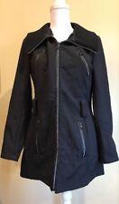 Steve Madden Womens Jacket Waterproof Long Zip Up Black Size Small