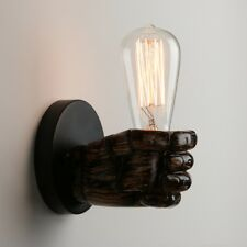 RETRO INDUSTRIAL LEFT RIGHT HAND BROWN BEDSIDE FIST SCONCE IRON WALL LIGHT