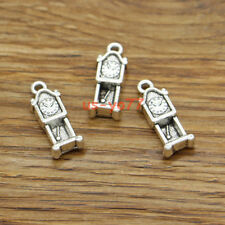 20 Grandfather Clock Charms Time Piece Wall Clock Charm Antique Silver 8x21 3258