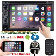 6.2'' Double DIN Car Stereo Head Unit Radio +Camera Mirrors For GPS Navi Android
