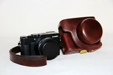 Coffee leather camera case bag to Panasonic LUMIX LX100 INTEGRATED LEICA DC LENS