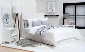 1/6 scale Doll bed all Wood in White, bedding included one rug