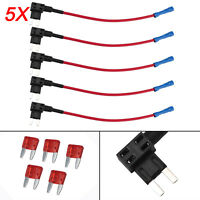 5 X 12V Add A Circuit Mini Blade Fuse Splice Holder ATM APM Piggy Back Fuses Tap