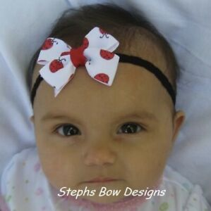 Cute Red Ladybugs Dainty Hair Bow Headband Preemie Newborn Toddler