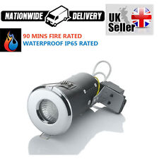5 X CHROME LED OR HALOGEN BATHROOM DOWNLIGHTS FIRE RATED WATERPROOF GU10