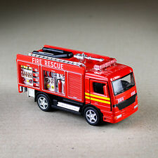 Fire Engine Rescue Truck Red Opening Doors Diecast Metal Cab 13cm Plastic