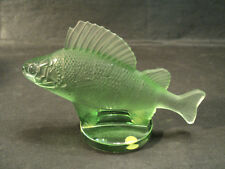 """LALIQUE GREEN FROSTED CRYSTAL """"PERCHE"""" FISH HOOD ORNAMENT / PAPERWEIGHT"""