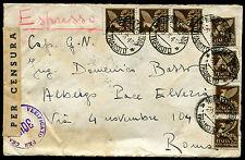 1945 - Luogotenenza - Espresso per Roma con PM cent.50 8 valori - raro utilizzo