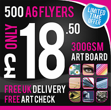 500 A6 Leaflets / Flyers 300gsm Coated Art Board, Full Colour - DOUBLE SIDED