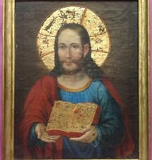Sakrales Ölgemälde Jesus Christus Heiligenschein Sohn Gottes Wundmale Buch ~1800