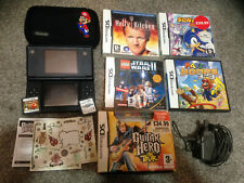 Nintendo DS Lite Black Handheld Games Console With Case And Games + Power supply