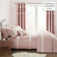 Catherine Lansfield Sequin Cluster Quilt/Duvet Cover Bedroom Collection Blush