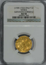 NGC  AU58 ITALY VENICE GIOVANNI CORNER II 1709 1722 AD Gold Coin w/ Jesus Christ