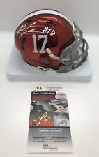 MAC JONES SIGNED AUTOGRAPHED ALABAMA CRIMSON TIDE CHROME MINI HELMET JSA COA