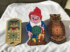 Lot of 3  New old Stock Black Forest Owl Clown & Cat 8-Inch Wall Clock Germany