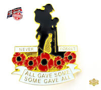 Never Forget All Gave Some Gave All Soldier Poppy Metal Enamel Lapel Pin Badge