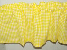 Handmade yellow white check checked Window Curtain Valance