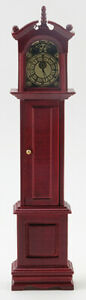 Miniature Dollhouse Grandfather Clock Mahognay Color 1:12 Scale New