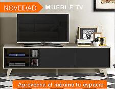 Habitdesign 0z6635r - mueble de TV acabado color roble y gris oscuro medidas