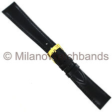 Padded Stitched Mens Watch Band 18mm Morellato Sidney Black Genuine Leather