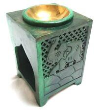 Duftlampe Elefant grün Aromalampe Duftöllamp Duftstövchen Speckstein Seifenstein