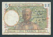 F.C. FRENCH EQUATORIAL AFRICA , 5 FRANCOS 1941 , B/C ( FINE ) , P.6 .