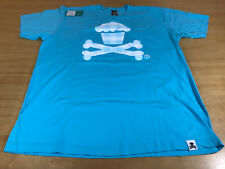 JOHNNY CUPCAKES X BONES GINGHAM LOGO TEE SHIRT AQUA WHITE CANDIES MEN XX-LARGE