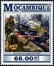 WWII US Army Soldiers & WILLYS MB Jeep Car Stamp (2015)