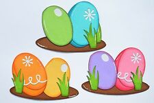 CraftECafe Paper Piecing Egg Accents for Premade Scrapbook Page Layout Cards