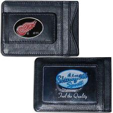 Detroit Red Wings Fine Leather Money Clip Wallet [NEW] NHL Black Men's CDG
