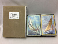 2 Decks Vintage Congress Playing Cards Sail Boats Cel-U-Tone Finish Complete