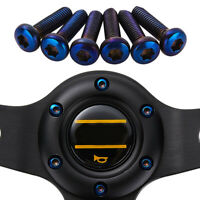 Universal Titanium Blue Aluminum T25 Stainless Steel Steering Wheel Bolts 6Pcs