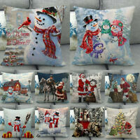 "18"" Snowman Winter Cojines Waist Throw Pillow Case Sofa Car Lumbar Cushion Cover"