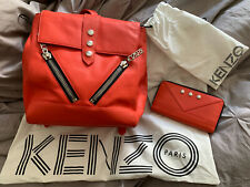 """Kenzo Coral Backpack & Matching Purse- """"Jacket"""" Style- Used- With Dust Covers"""