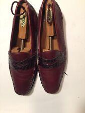 Vintage Pelle Lines Burgundy Leather Mens Shoes 11.5 M Spain Loafers Slip On