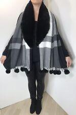 Pom Poms Faux Fur Pashmina Wrap Shawl Checked Black Grey Soft Oversized NEW