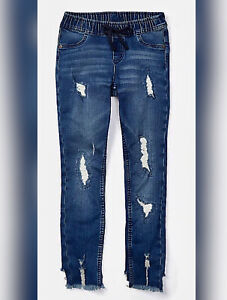 BRAND NEW Justice Jeggings Girls DESTRUCTED Dark Wash Pull On TIE WAIST SOLD OUT