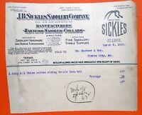 03-08-1905 J P SICKLES SADDLERY (Fine Saddlery)  ST LOUIS MISSOURI Bill Head