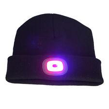Women Men USB Rechargeable LED Beanie Knit Hat Cap Camping Headlamp light 3 hour