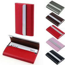 Business Card Holder Case Stainless Steel PU Leather ID Credit Wallet Black Pink