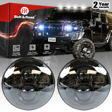 "2x 7"" Inch Black Round 150W Total LED Projector Headlights For Hummer H1 H2"