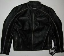 NEW! MOSSI SIZE 44 PREMIUM LEATHER JACKET Black Drifter Coat