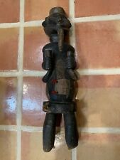Antique African art hand carved wood figure standing male stomach locker 30�